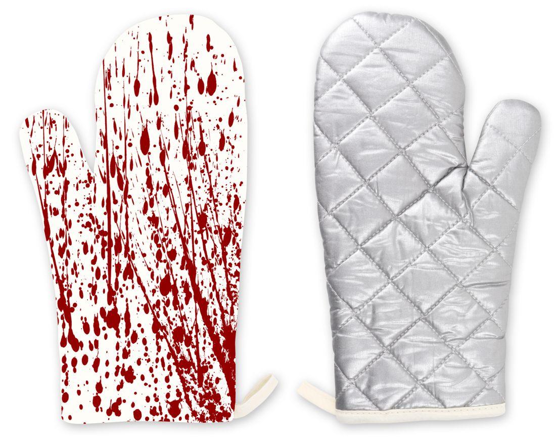 Véres konyhai hőálló kesztyű + edényfogó lap/edény alátét