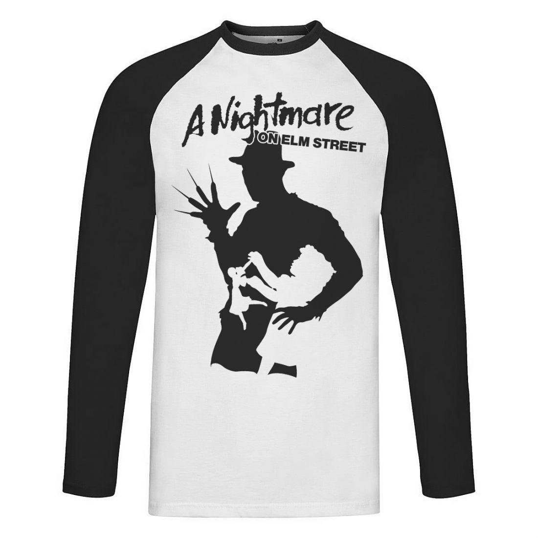 A Nightmare On Elm Street 001 (fekete-fehér raglan hosszúujjú póló)