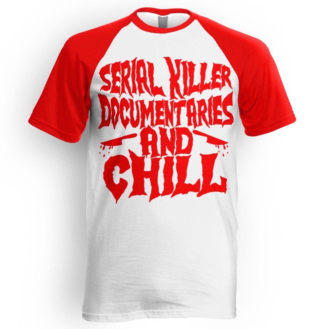 Serial Killer Documentaries (piros-fehér raglan póló)