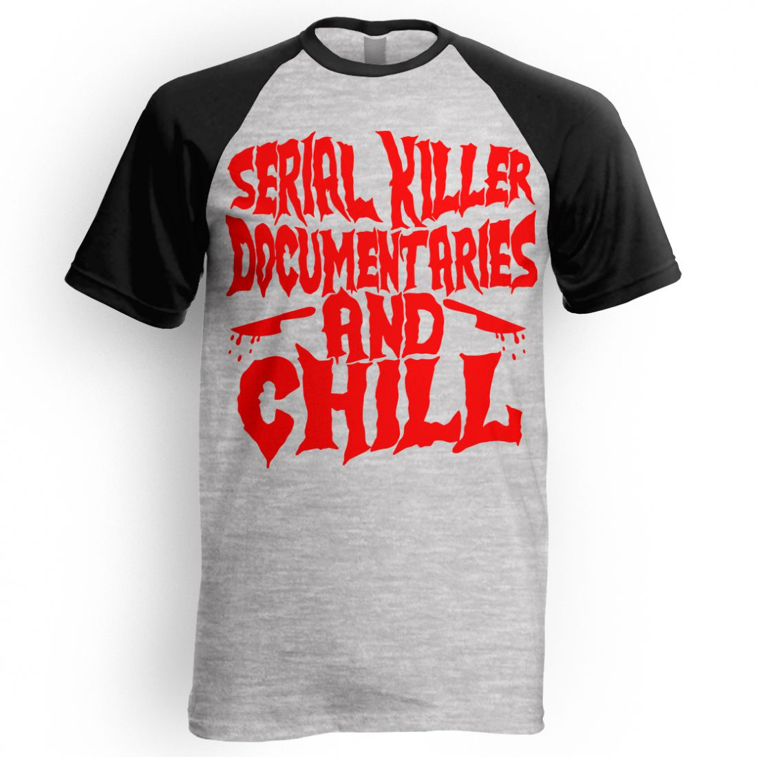 Serial Killer Documentaries (fekete-szürke raglan póló)